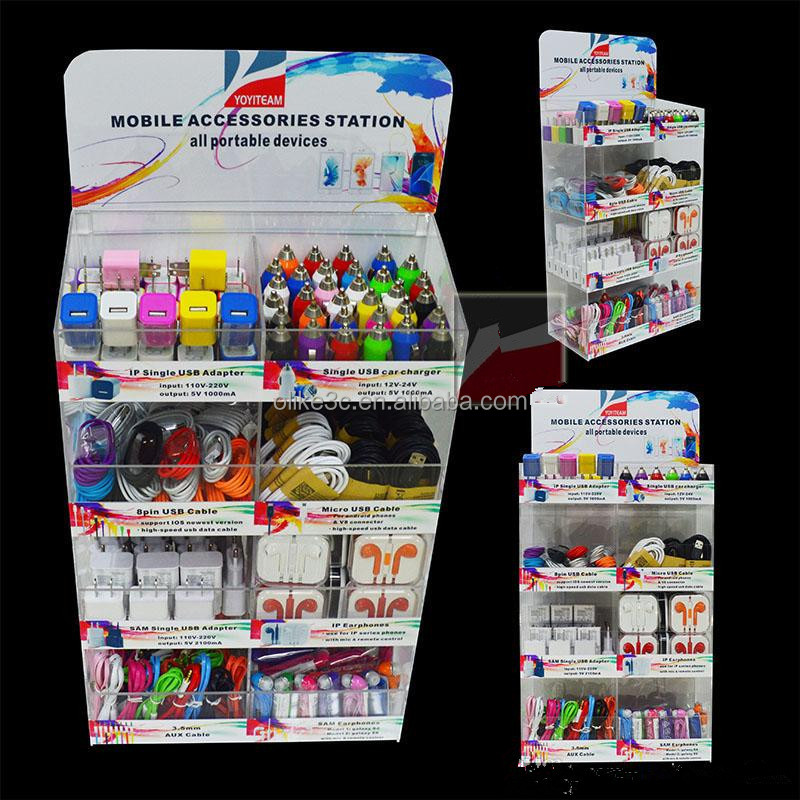 Cardboard peg hook counter display,small cardboard display stand for mobile accessories