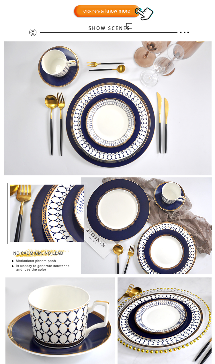 Antique Cheap Dinnerware Luxury Gold Trim European Nordic Poland Rustic Hotel Porcelain Dinnerware Sets