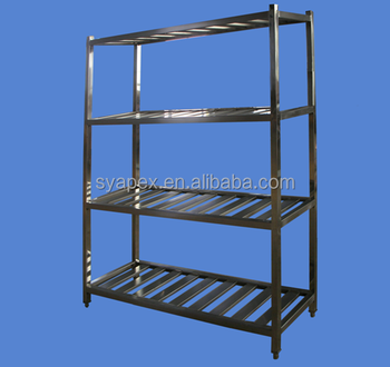 Restaurant Kitchen Metal Shelves apex custom make 4 layers square legs restaurant kitchen stainless
