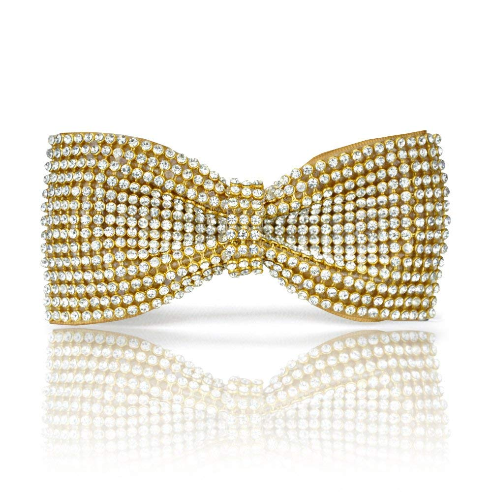 98b2ab826b79 Get Quotations · Gold bow tie, Gold Crystal bow tie, Gold Rhinestones bow  tie, Bling bow