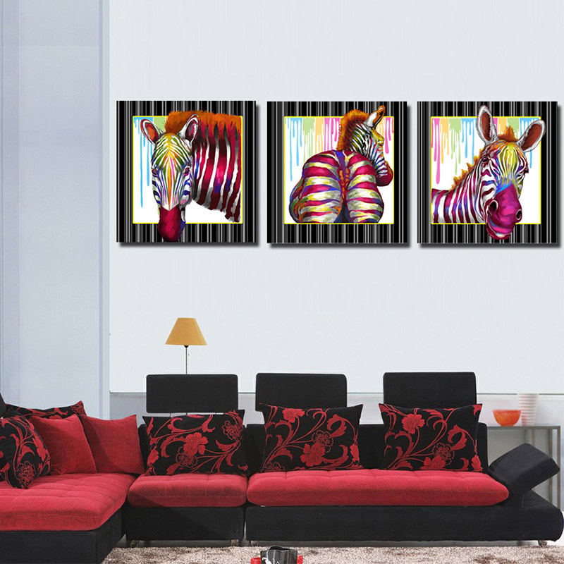 Unstretched 3panels zebra pictures canvas art digital printed wall art pictures
