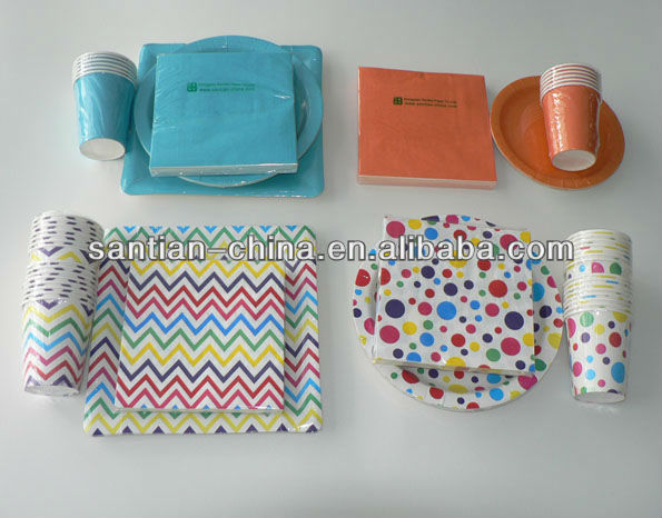 solid color polka dot custom printed paper plate cup and napkins & China Custom Printed Paper Plate Wholesale 🇨🇳 - Alibaba