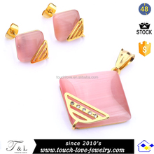 Pink Color Foursquare Design Cat Eye Stone Jewelry Set For Girls