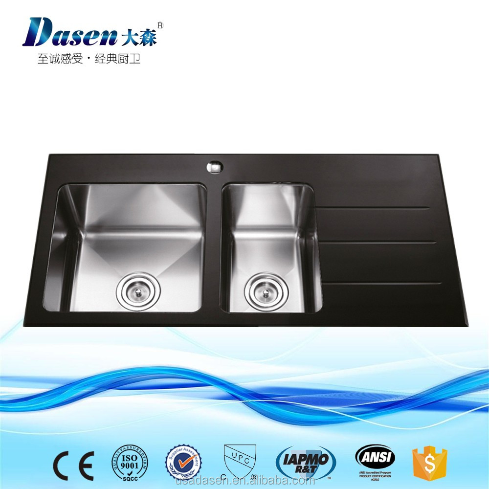 Glass stainless steel sink double bowl with drainboard kitchen basin topmounted sink hot sale 10050