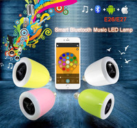 2015 new 2-in-1 E27 four color LED Smart Bluetooth music Led light