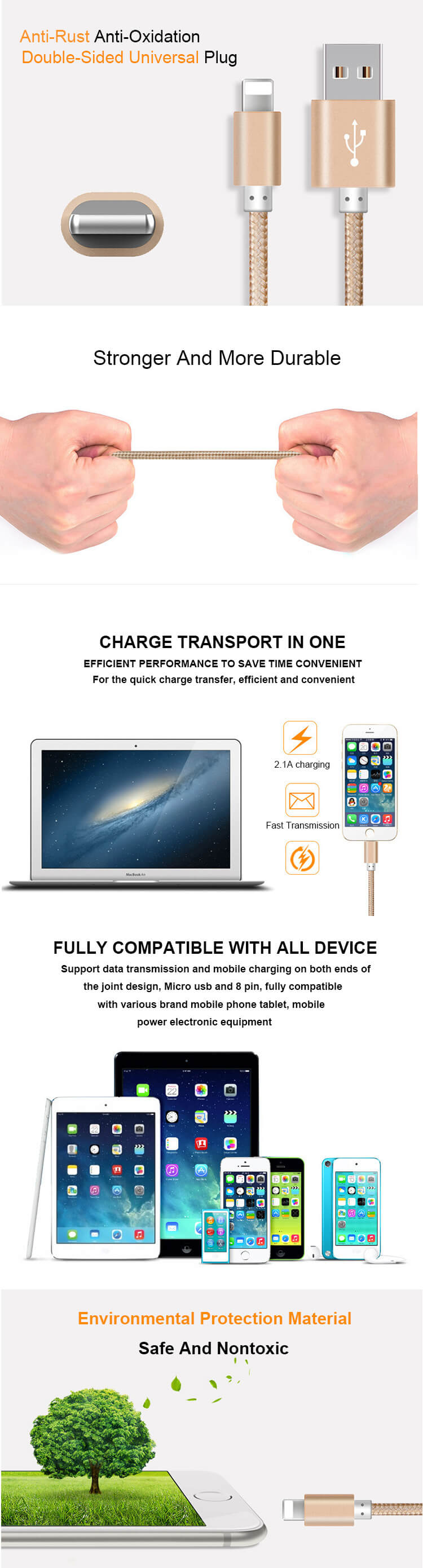 Factory Price Sync Charging For Samsung Braided Mini Zinc Alloy Data Cable Usb