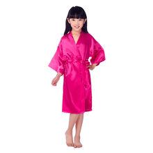 Летнее высококачественное атласное детское кимоно, халат подружки невесты, платье с цветочным узором для девочек, Шелковый детский халат, н...(Китай)