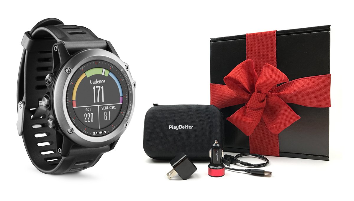 Garmin fenix 3 (Gray) GIFT BOX Bundle | Includes Multi-Sport GPS Fitness Watch, PlayBetter USB Car & Wall Adapter, USB Charging Cable & GPS Carrying Case | Black Gift Box, Red Bow