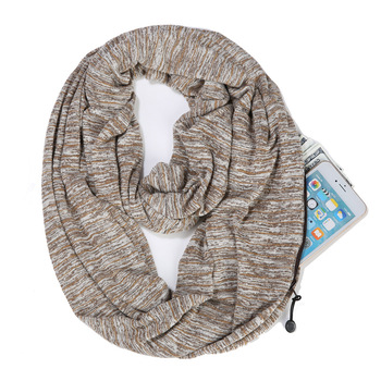 D1474 Women Winter Neckwear Portable Infinity Scarf with Pocket Zipper Scarves Pocket Scarf