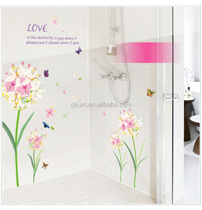 Romantic pink flowers butterfly wall sticker home decor living room wall decal quotes for Autocollant decoratif mural