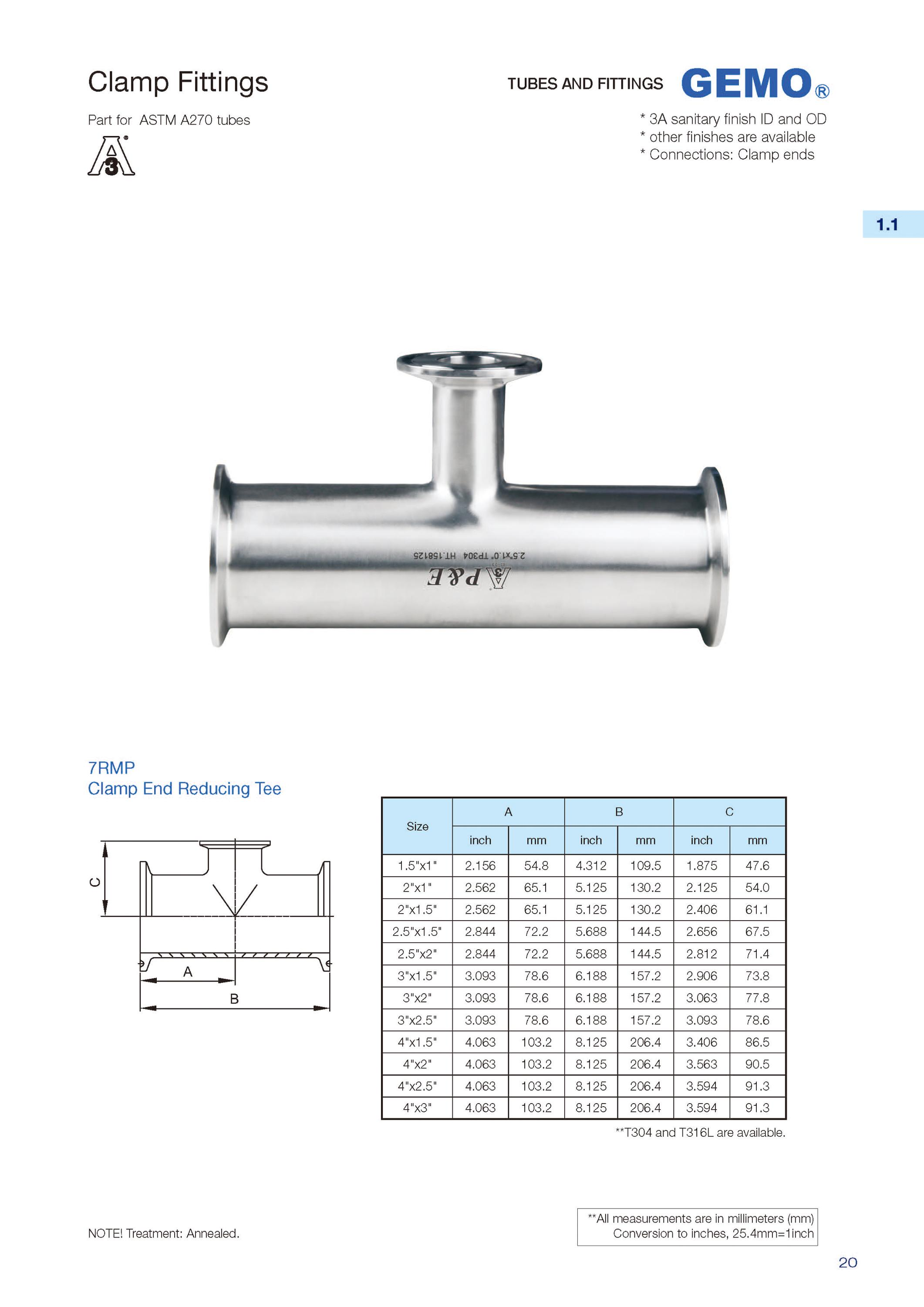 7MP Sanitary Stainless Steel Clamp Equal Tee