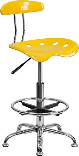 Vibrant Orange Yellow & Chrome Drafting Stool with Tractor Seat - Shop Stool, Salon Stool
