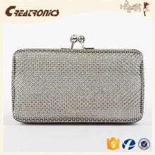 CR High reputation supplier gridding mesh woven metal frame silver color high quality new arrival metal clutch wallet