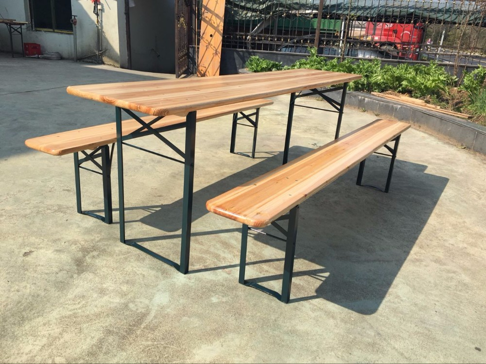 Wooden Outdoor Folding Patio Camping Picnic beer garden Table Set with Bench