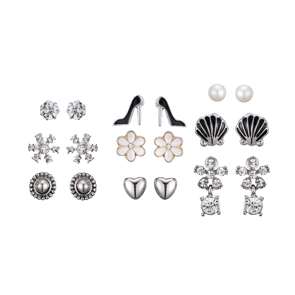 Women Fashion Jewelry Custom Design Silver Plated High Heel Snowflake Dangling Stud Earring Combo Multipack Christmas Gift