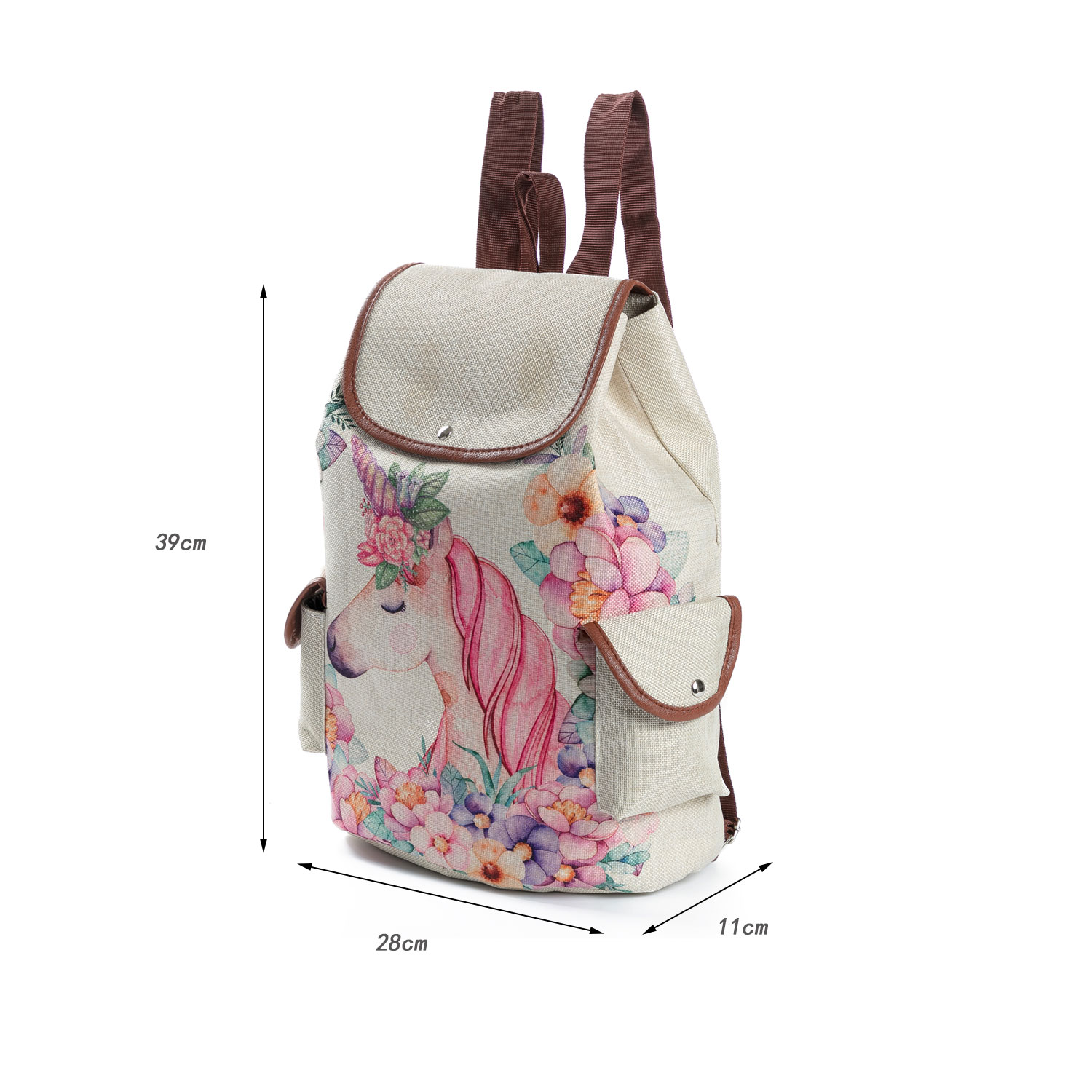 Wholesale day school white backpack girl college bags hemp unicorn backpack