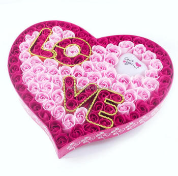 Pink Rose Flower Gift Box Valentine\'s Day Decoration - Buy ...