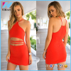 Sexy Fashion Casual Apparel Woman High Halter Style Neckline Scalloped Wholesale Plus Size Cocktail Dress