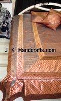 Embroidered Brocade Silk King Size Bed Sheet Bedding Set