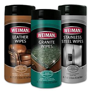Weiman Wipes Kit: One Canister of Leather Wipes, One Canister of Stainless Steel Wipes, & One Canister of Granite Wipes