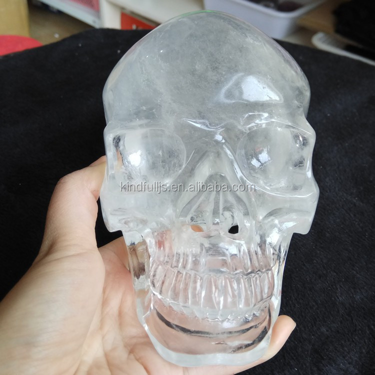 Wholesale natural large size crystal skull, clear white quartz crystal skull carving for sale