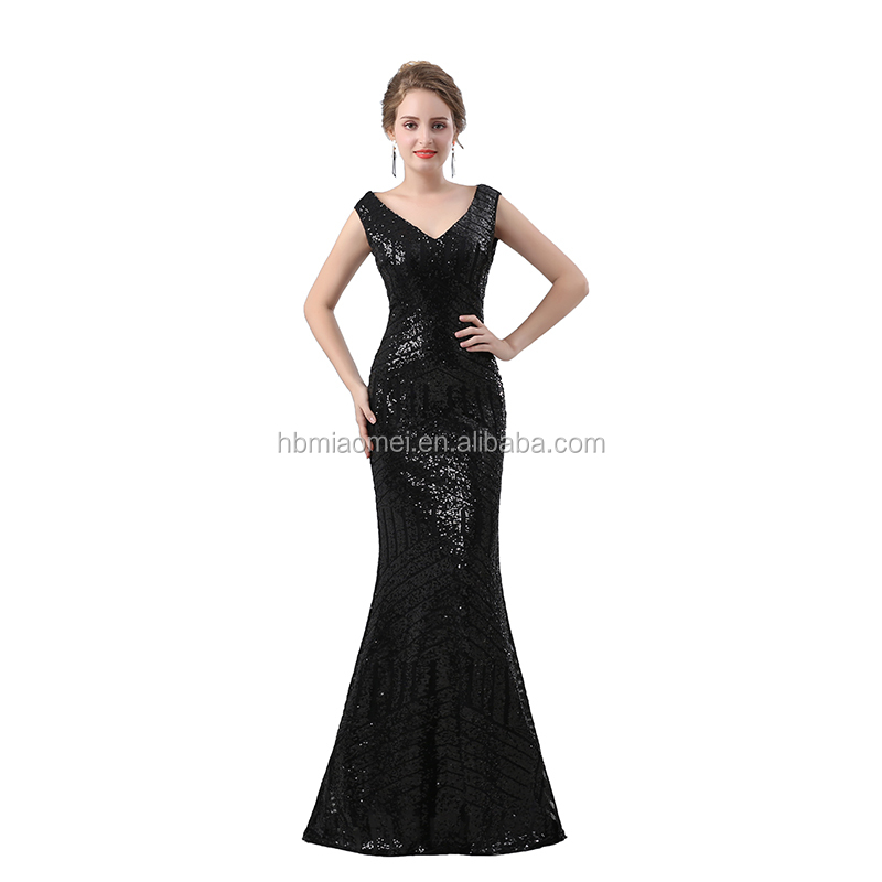 Elegant Long Design Evening Dresses Floor Length Sequins Black Sexy