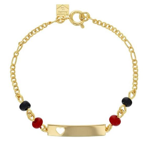 18k Yellow Gold Plated Evil Eye Simulated Azabache Heart Tag Id Children Bracelet