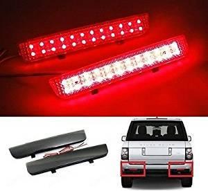 LEDIN 2x Black Smoked Bumper Reflector LED Stop Brake Light Range Rover Freelander LR2