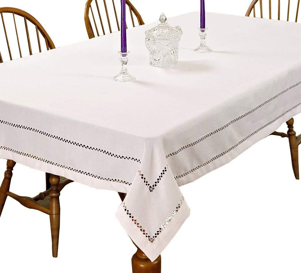 """Violet Linen Hem Stitch Embroidered Vintage Design Oblong/Rectangle Tablecloth, 68"""" x 120"""", White"""
