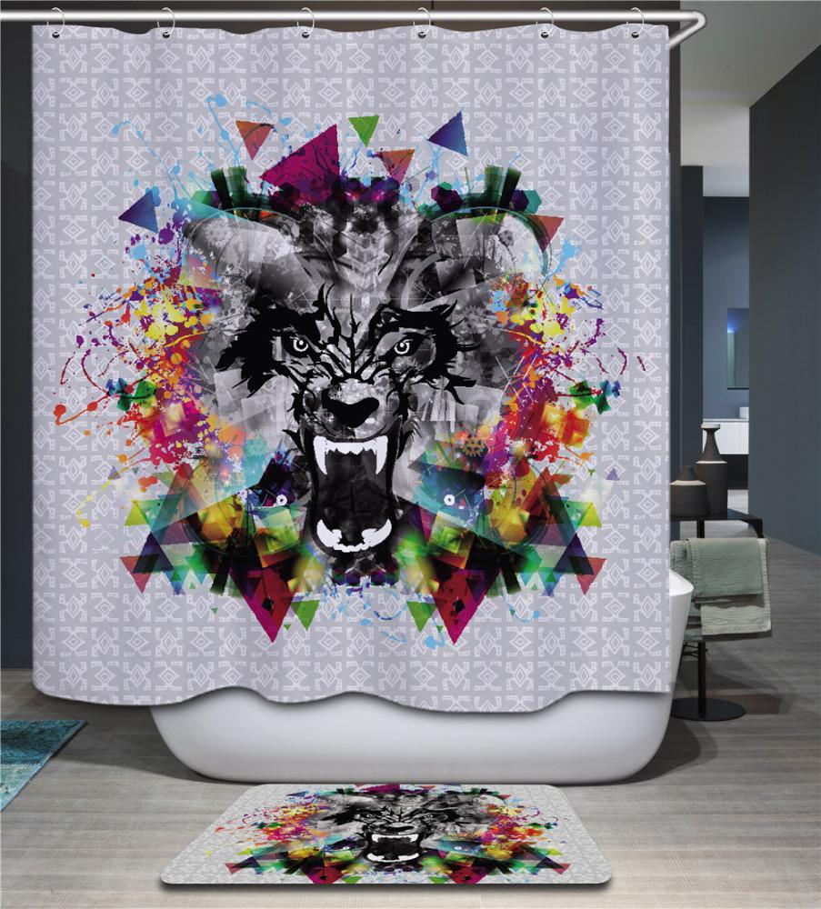 En Gros Pas Cher 3d De Bain Rideau Polyester Tigre Impression Tissu