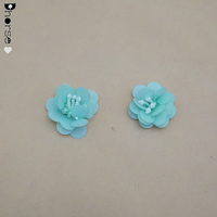Hot sale Green beaded plastic cheap wholesale artificial fabric flowers for wedding decoration 3d flower