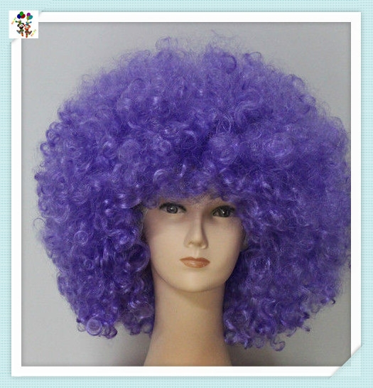 Sports Fan Crazy Party Cheap Purple Color Curly Afro Synthetic Wigs HPC-1217