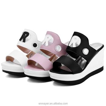 ea67f3d2557aa European Stylish Women Fancy Monogrammed Comfort Wedge Summer Slipper  Sandal - Buy European Stylish Slipper Sandals,Women Fancy Monogrammed  Summer ...