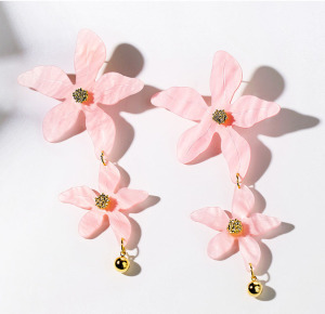 INFANTA JEWELRY European new design pink wild simple resin earring jewelry fashion tie resin alloy earring flowers accessories
