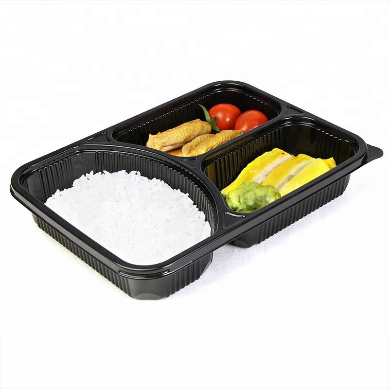 3 डिब्बे रिसाव सबूत माइक्रोवेव खाद्य भोजन प्रस्तुत करने का कंटेनर दोपहर के भोजन के बॉक्स