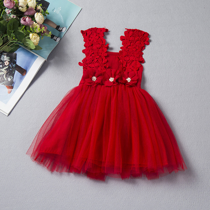 Flower Kids Party Dress For Girl Birthday Fancy Children Bridesmaid Costume Girl Brand Baby Tulle Tutu Wedding Dress 2-6 Years