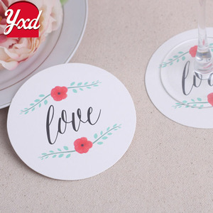 Cheap customize wedding /festival paper cup coaster mat
