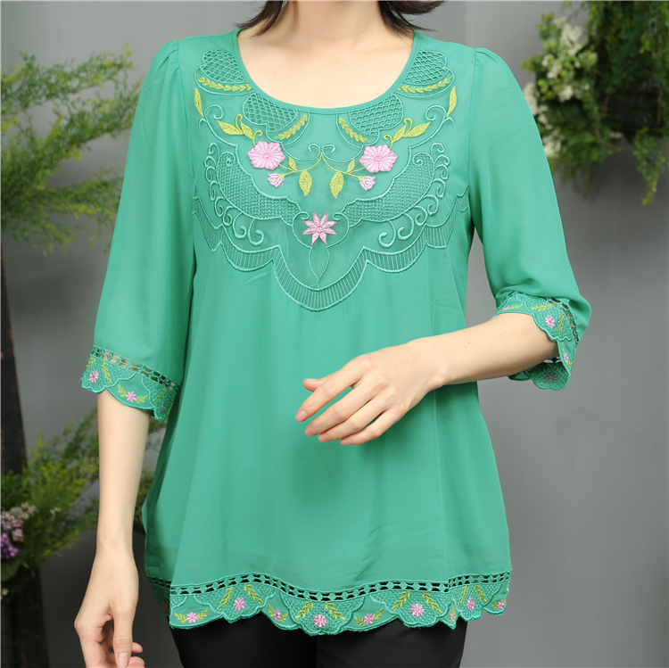 Wholesale hot selling fashion chiffon design women embroidered tops