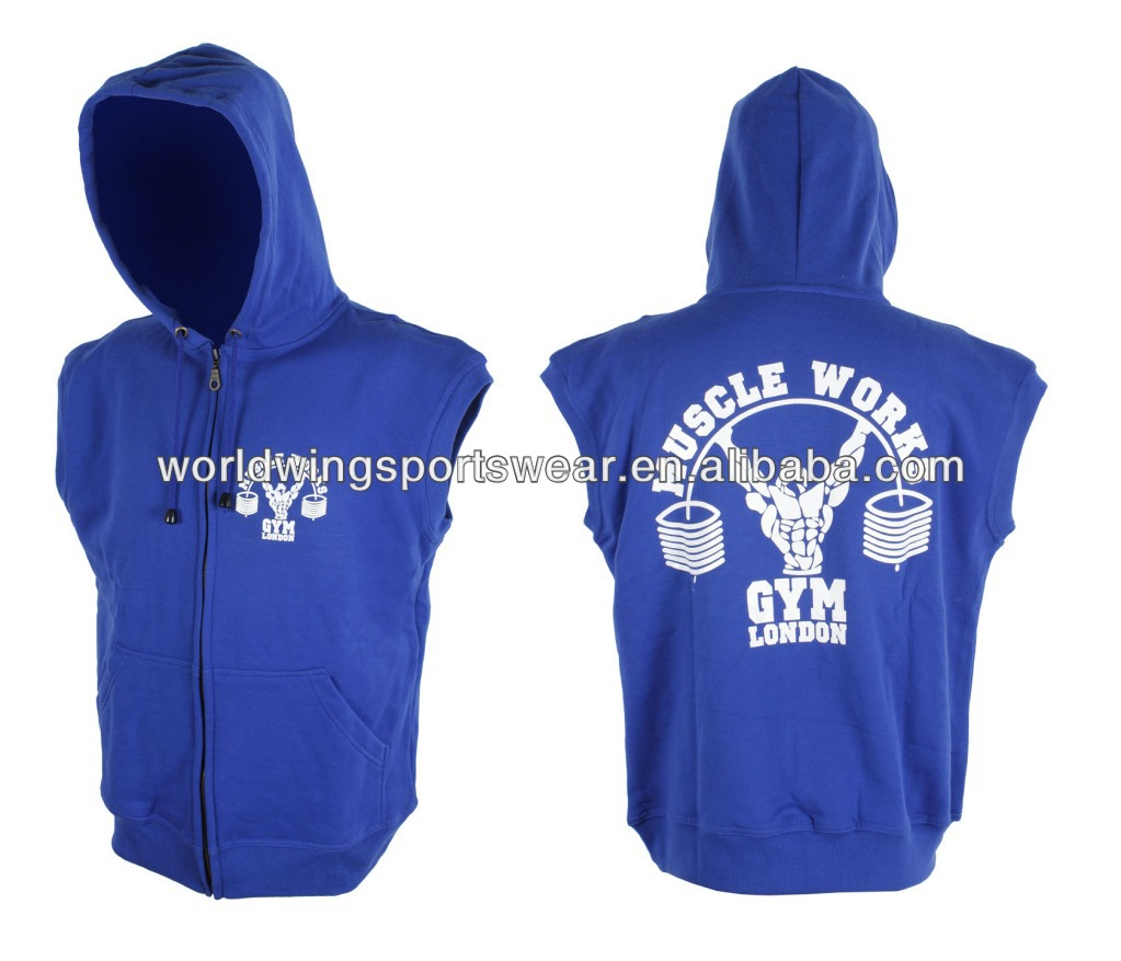Mens custom royal blue 85% cotton 15% polyester full zip with pockets and cap screen printed sleeves hoody