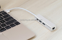 Type C USB to Ethernet adapter with 2 USB Hub & 1 DP power charging Hub