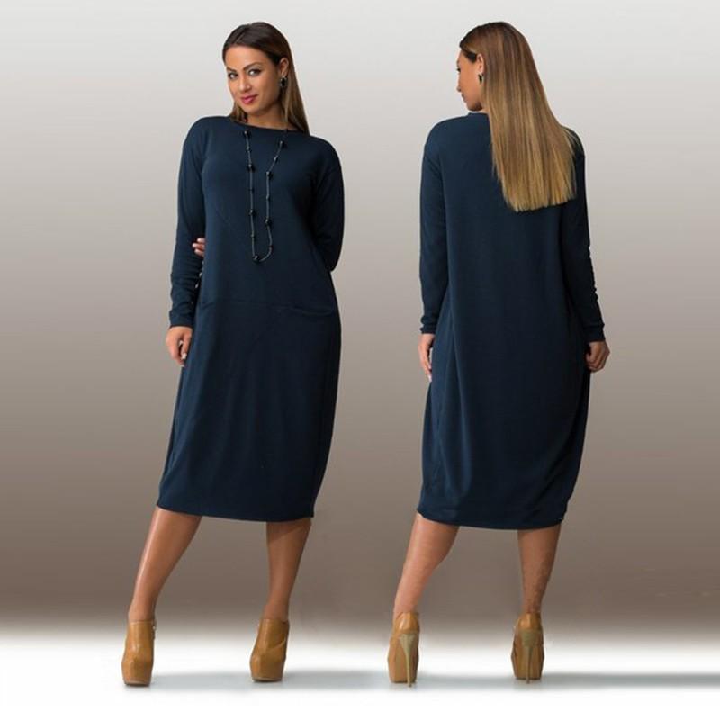 cd482fdc3a7f L-3XL 4XL 5XL 6XL 2016 Big Size Dress Autumn Winter Plus Size Women Clothing
