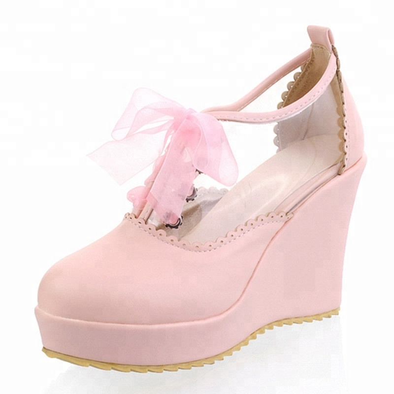 Sexy transparent footwear Women Shoes Wedges Heels Round Toe High Heels Lace-up Dress Shoes Pumps Large Size 43