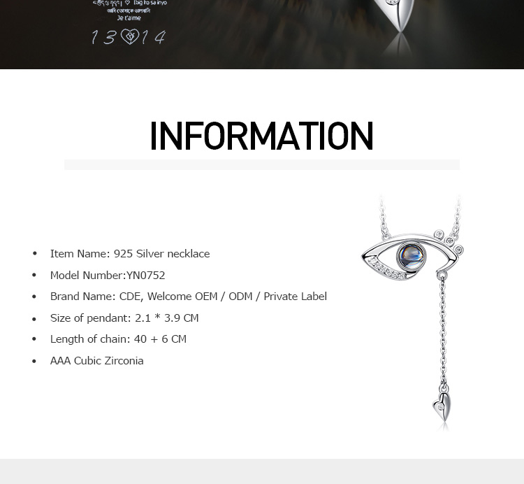 여성 Jewellery Gemstone 925 Silver 악 눈 목걸이
