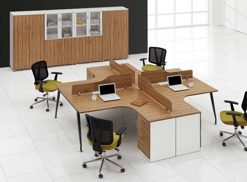 teck bureau meubles bas cabine worksttion pour 4 personne. Black Bedroom Furniture Sets. Home Design Ideas