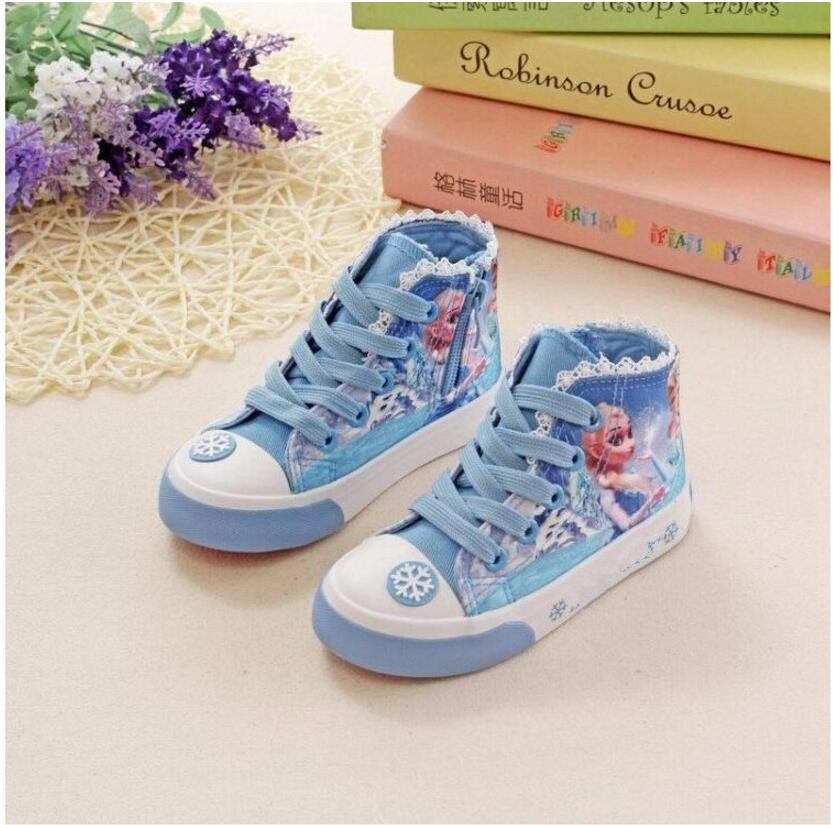 High-top canvas kids Girls elsa queen ice snow princess flats children shoes casual sport fashion popular shoes