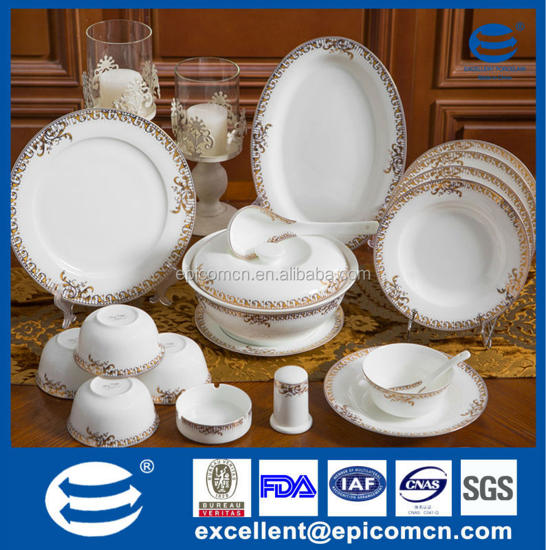 Luxury Dinnerware Set For 12 Person Used Golden Tableware