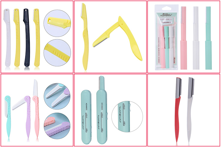 Private label beauty plastic face eyebrow shaper trimmer foldable eyebrow razor for women