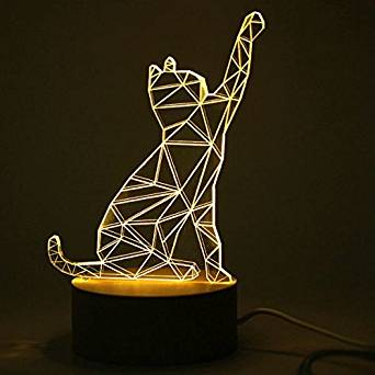Creative 3D Design Cat Shape Wooden Base LED Table Lamp For Birthday Present Holiday Gift / Specification: . Voltage:5V . . Wattage:0.5W . . Light source:LED . . Light color:warm white(