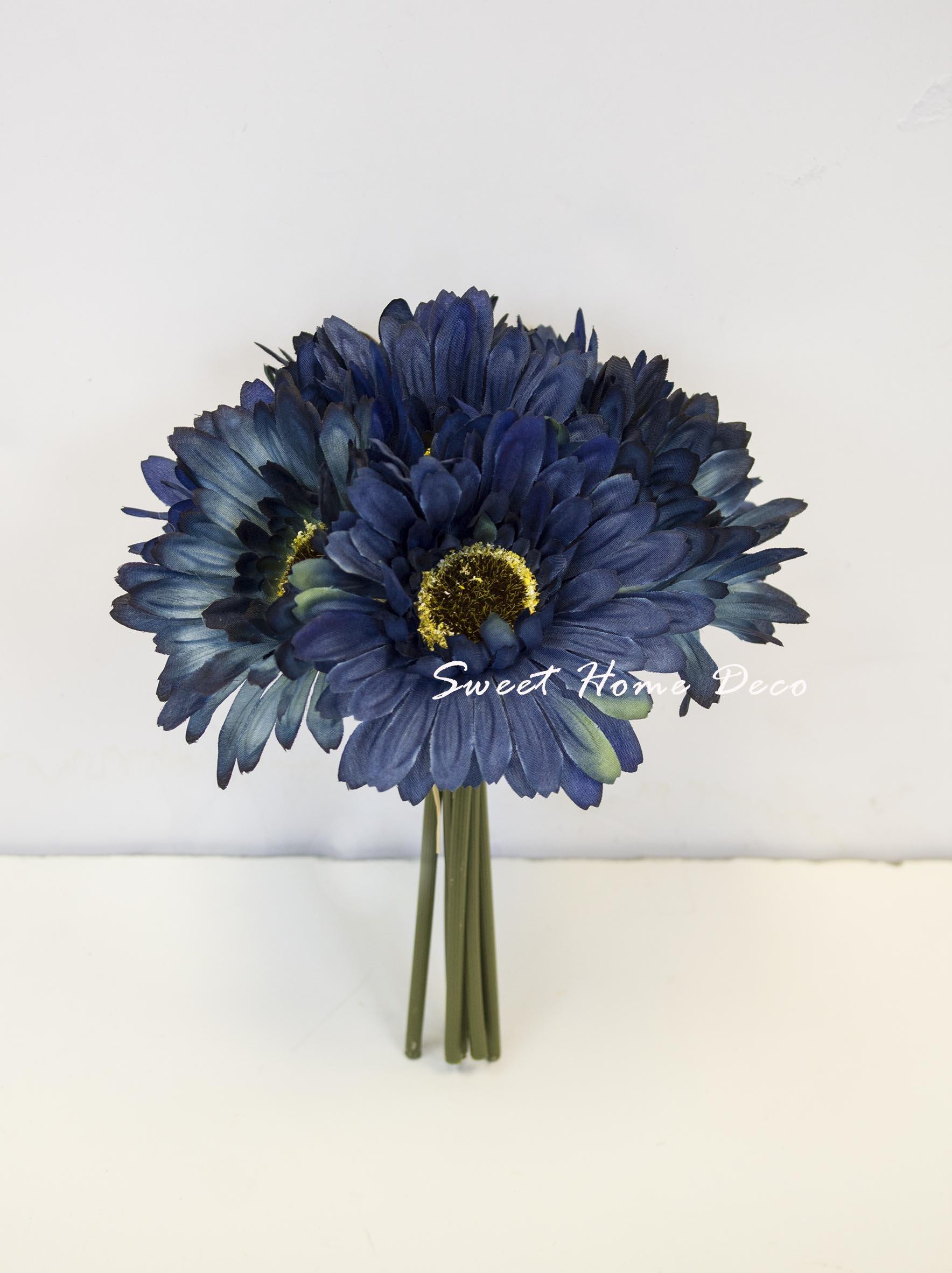 Buy sweet home dancing daisy silk flower arrangement in hollow pot sweet home deco 8 silk artificial gerbera daisy flower bunch w 7stems 7 flower heads homewedding new colors navy blue izmirmasajfo