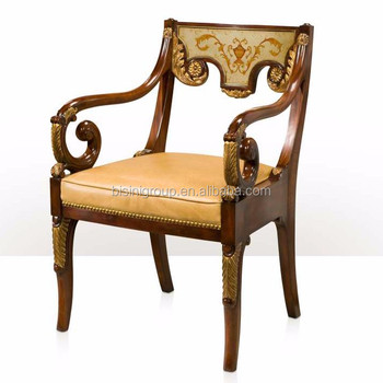New Arrival Exquisite Victorian Style Replica Solid Wood Carving Leather  Chair With Goose Arms And Chinoiserie Awesome Design